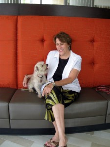 Frankie and me, testing the lobby furniture