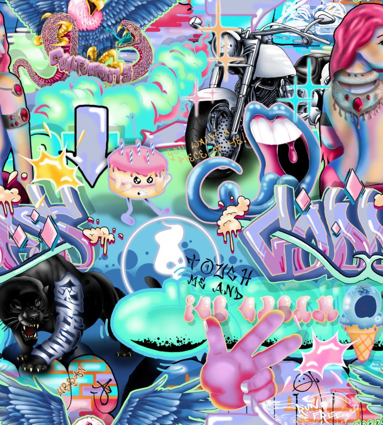 This is a Pop Art / Graffiti Interior Wallpaper wall mural design. Perfect for Youth and Teenagers or Girls. Pop neon bright colours. Funky and Wacky, Unusual and unique wallpaper.