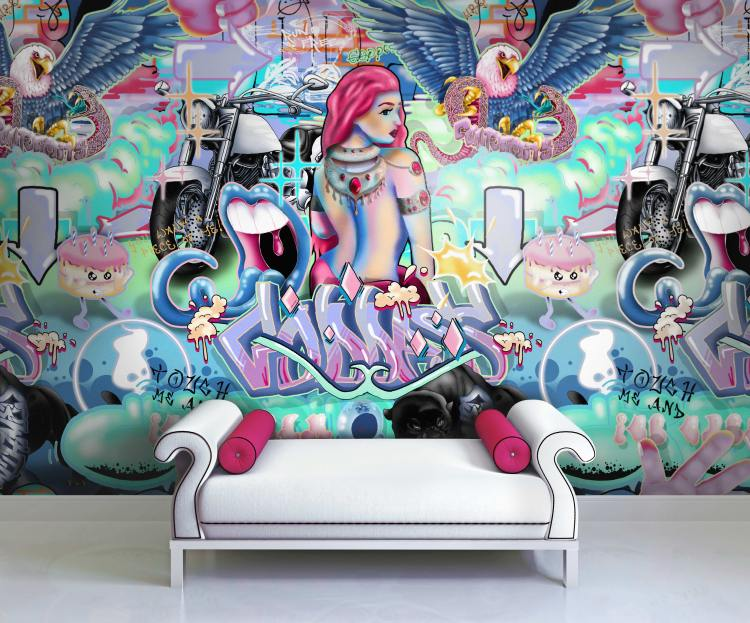 Large funky wall mural with urban graffiti illustrations in pop art neon colours.