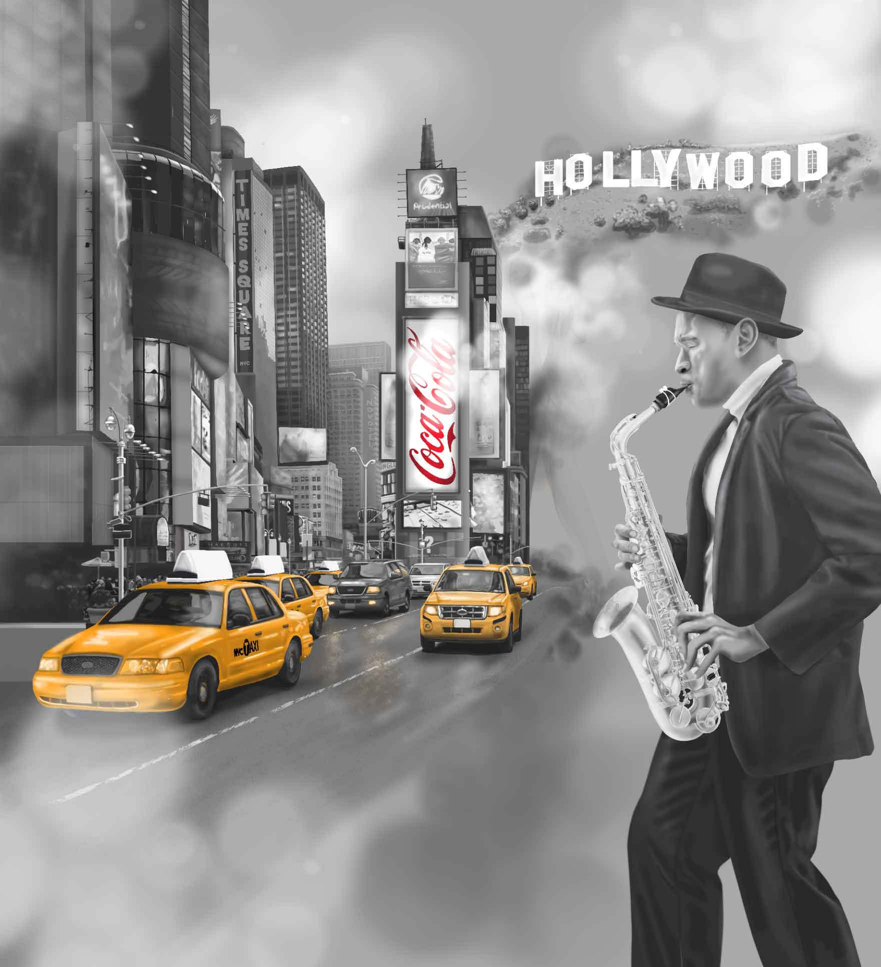 Custom wall mural of a jazz man/ new york city and LA elements.