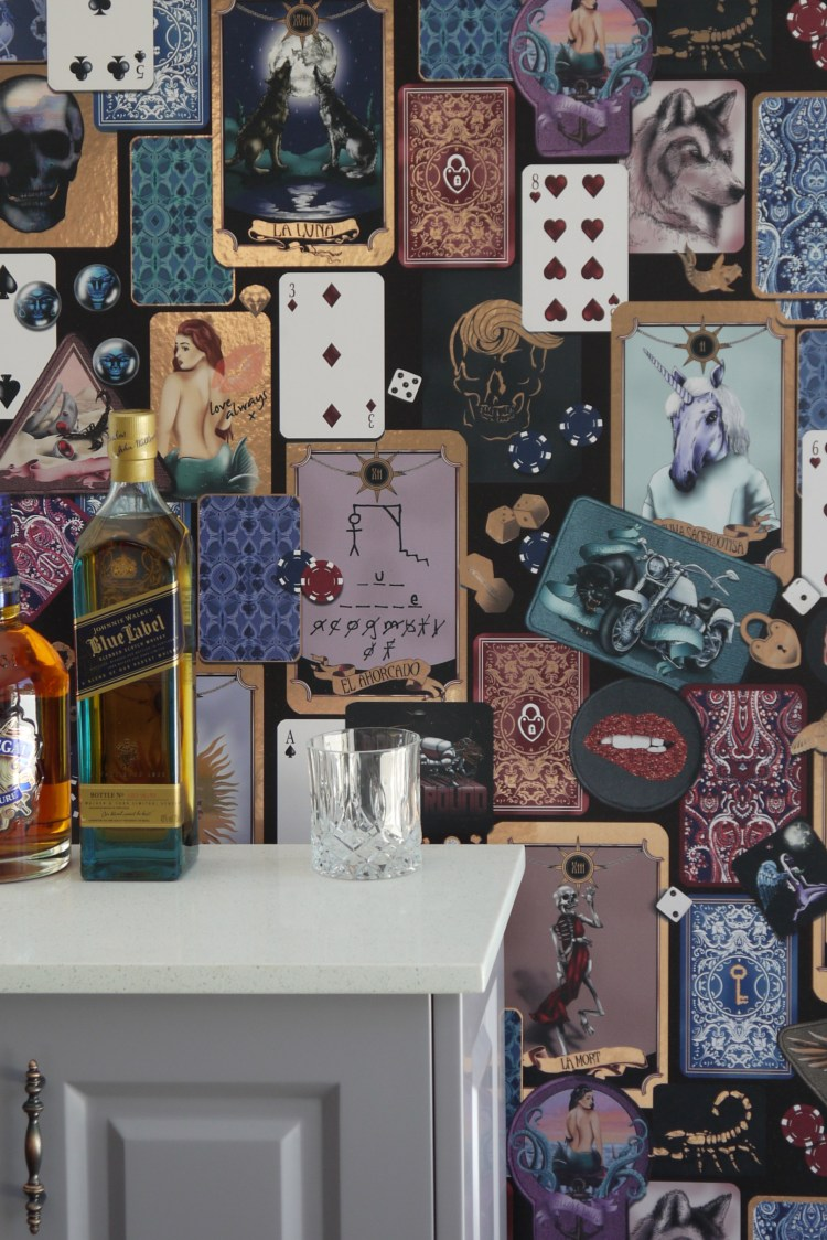 Amazing quirky and funky interior wallpaper design featuring a metallic wall covering available in gold, silver or copper.