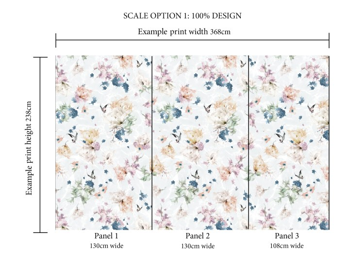 Floral and butterfly bedroom wallpaper