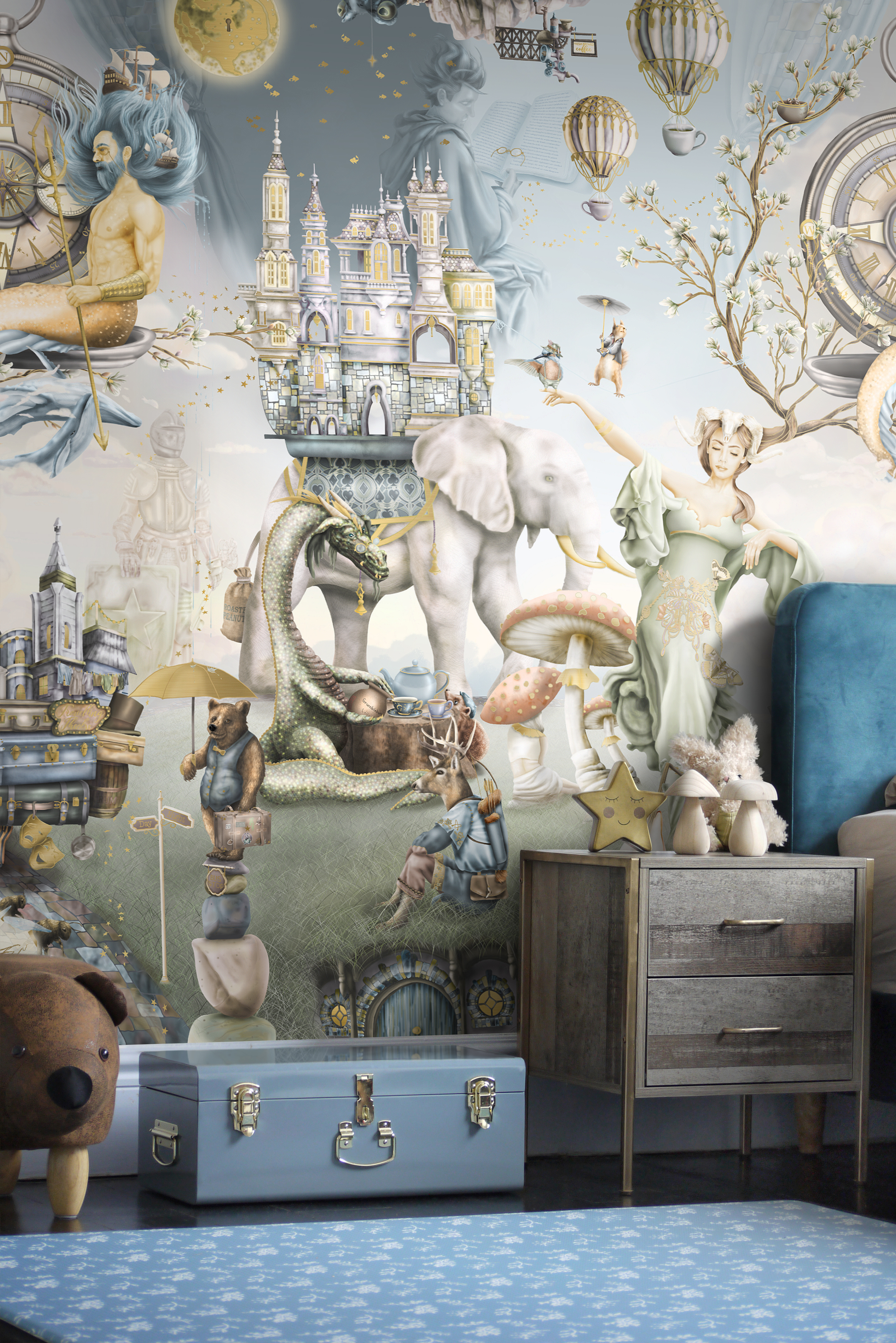 Boys woodland forest themed bedroom design in sage green, steel blue, gold, brown wood, forest green. Features custom kids wallpaper design from sydney australia. Kids bedroom interior design ideas and decor. Wallpaper features dragon, bear, deer, elephant, compass, moon