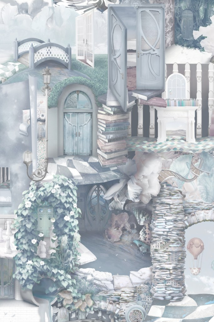 A beautiful and unique designer statement interior decorating wallpaper wall mural inspired by Alice In Wonderland. Featuring stones, tiles, doors, florals, vines, books and more! In dark blue navy and grey colours with deep turquoise, purple and grey tones.