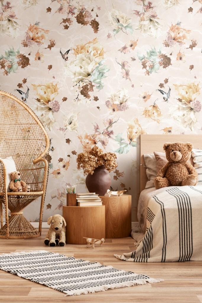 Dusty rose earth tone bohemian girls wallpaper bedroom