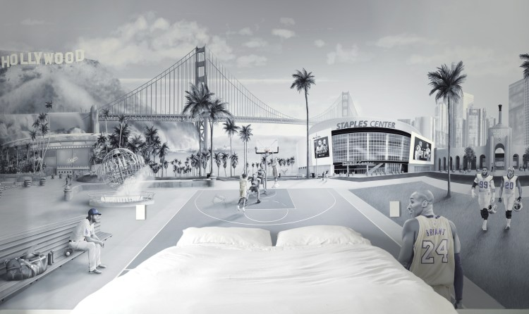 This is a custom Los Angeles wall Mural wallpaper design from australia. It features tributes to sport such as baseball, basketball, football themes. Including Kobe Bryant, Clayton Kershaw, Aaron Donald, Jalen Ramsey, Staples centre, dodgers. los angeles coliseum, Down town LA, Golden Gate Bridge, Hollywood sign. Man cave wallpaper