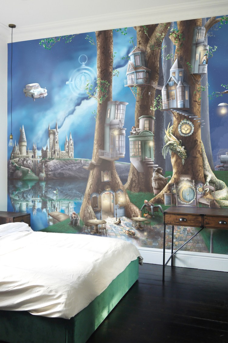 Magical Harry Potter wallpaper wall mural. Perfect for kids or teens bedroom. Wallpaper features hogwarts castle, forbidden forest, dragon, hogwarts express train, harry, ron, hermonie, hagrid and dragons.