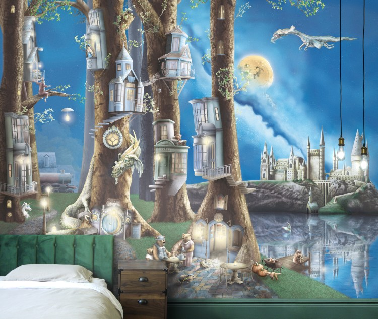 Kids forest wallpaper wall mural with trees and dragons