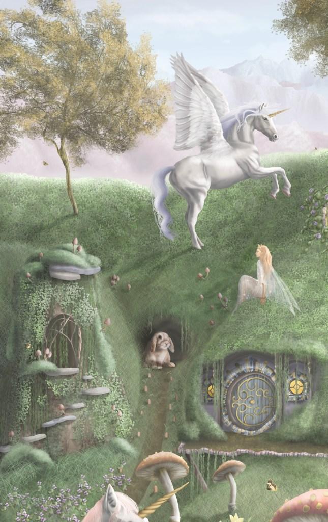 Unicorn and fairy kids wallpaper wall mural
