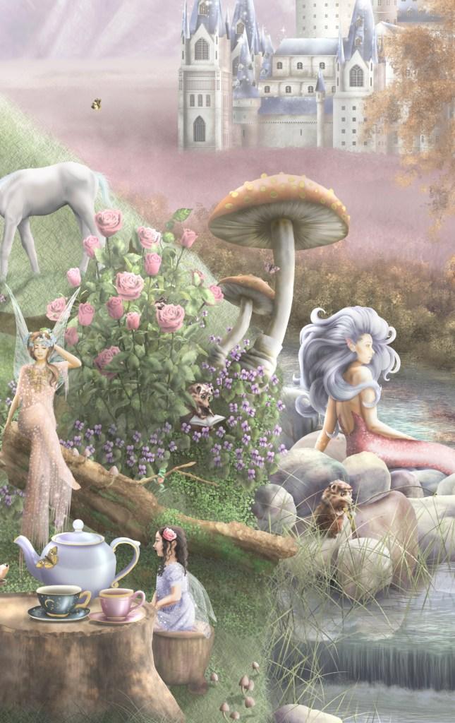 Mermaids and mushrooms wallpaper wall mural