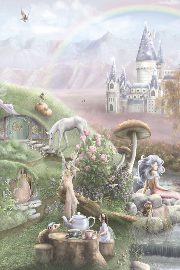 Fairy and unicorn kids wallpaper wall mural
