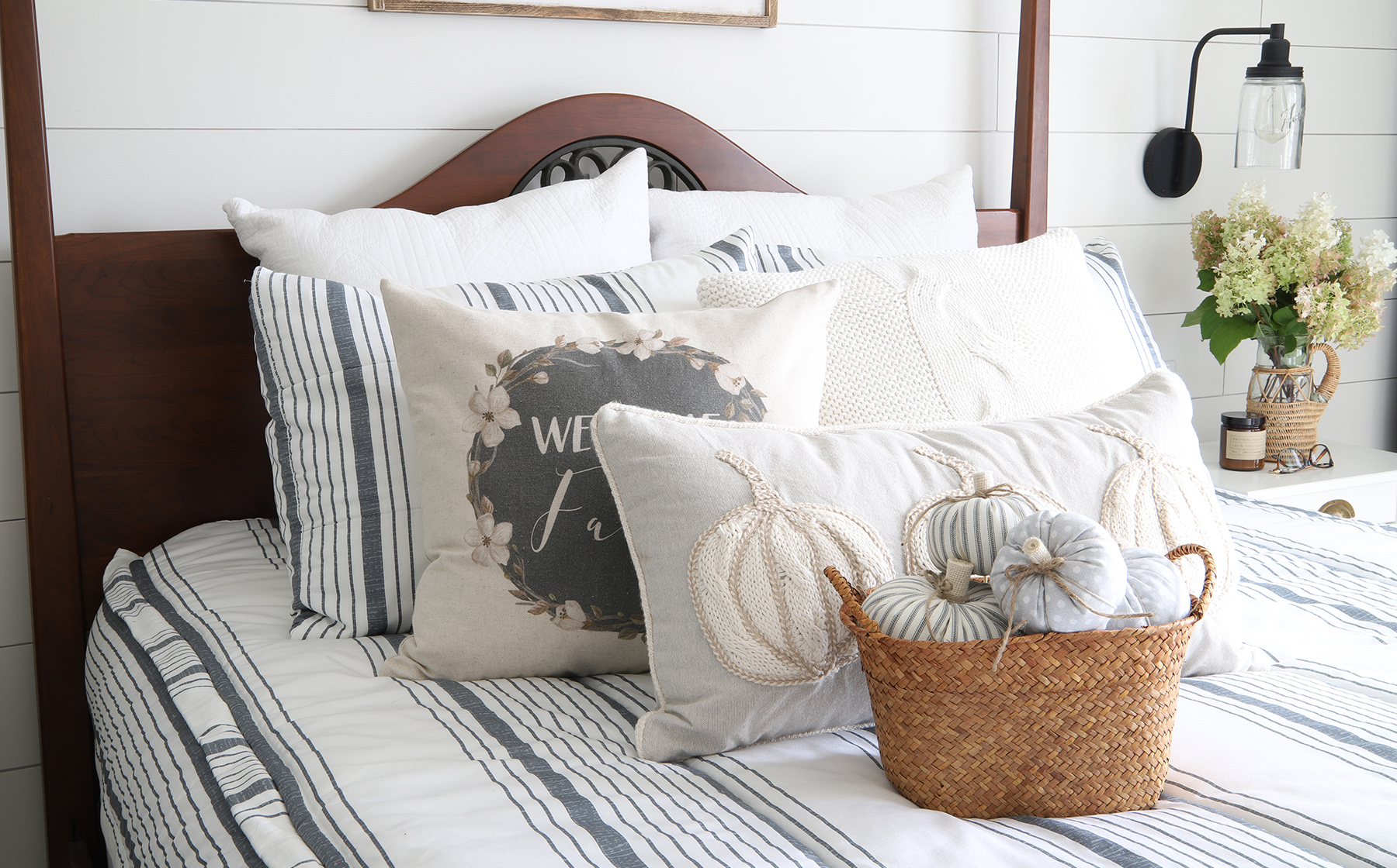 Light and Airy Fall Bedroom Decor - Willow Bloom Home