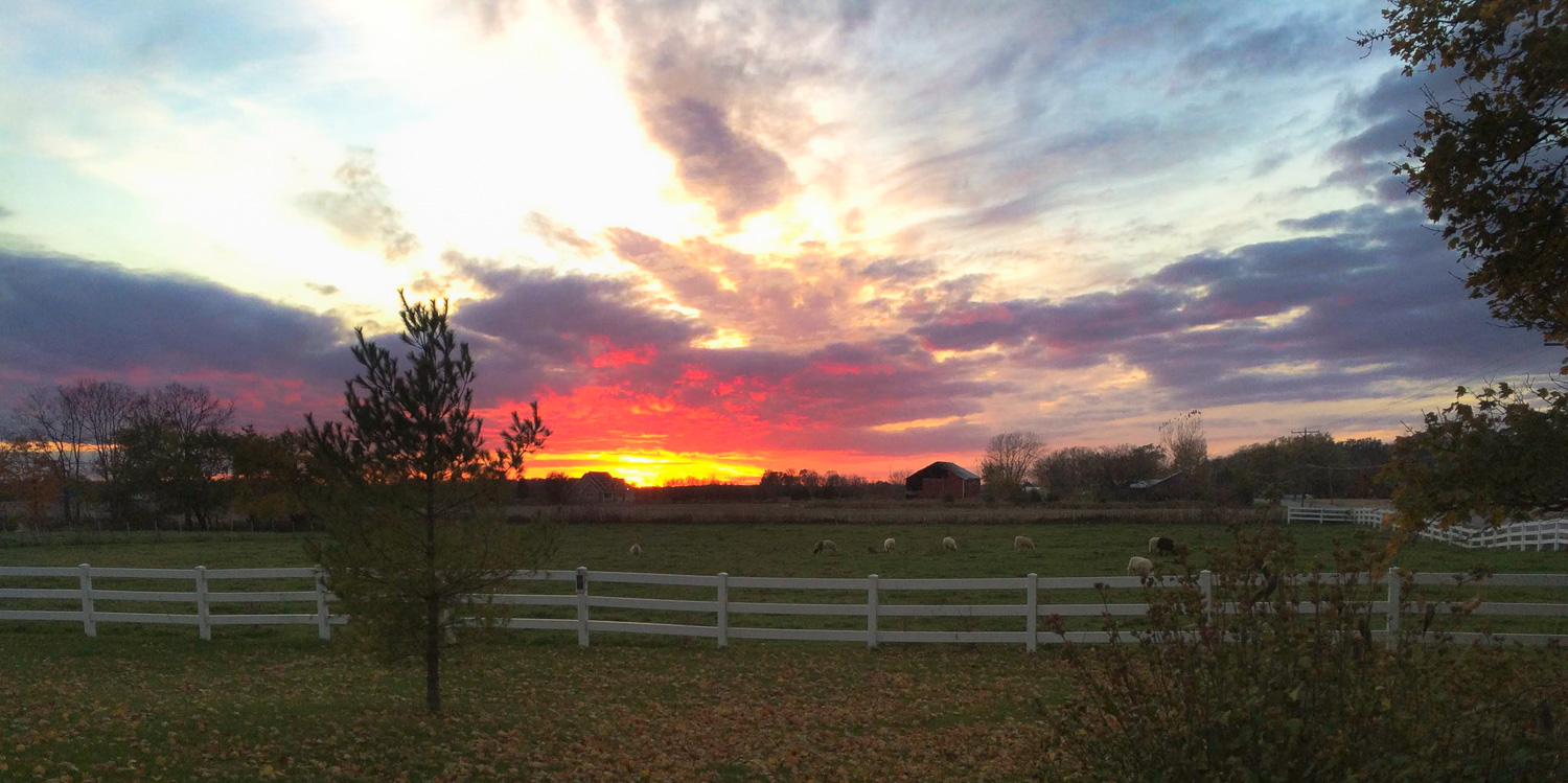 Beautiful and colorful sunset captured at Willowdale Farm