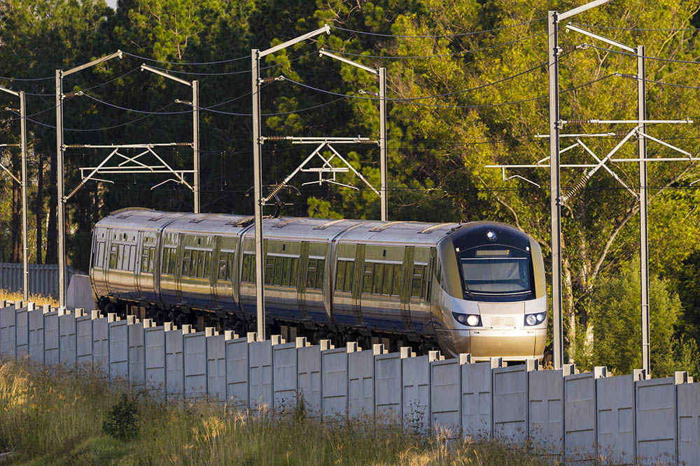Gautrain, high speed train traveling from OR Tambo International Airport to Pretoria, South Africa.