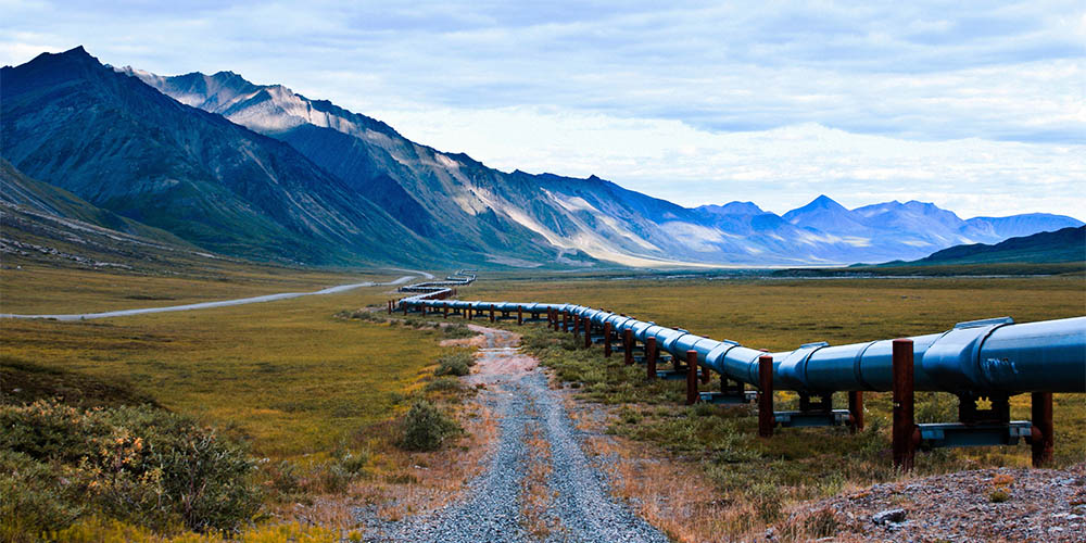 An oil pipeline through the mountains