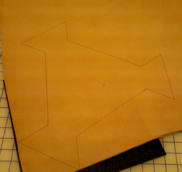 Step 2: Here is the Traced Chair pattern on Leather