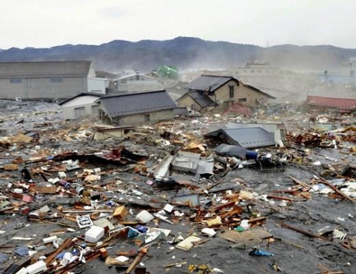 Coastal City in Japan Flooded by Tsunami