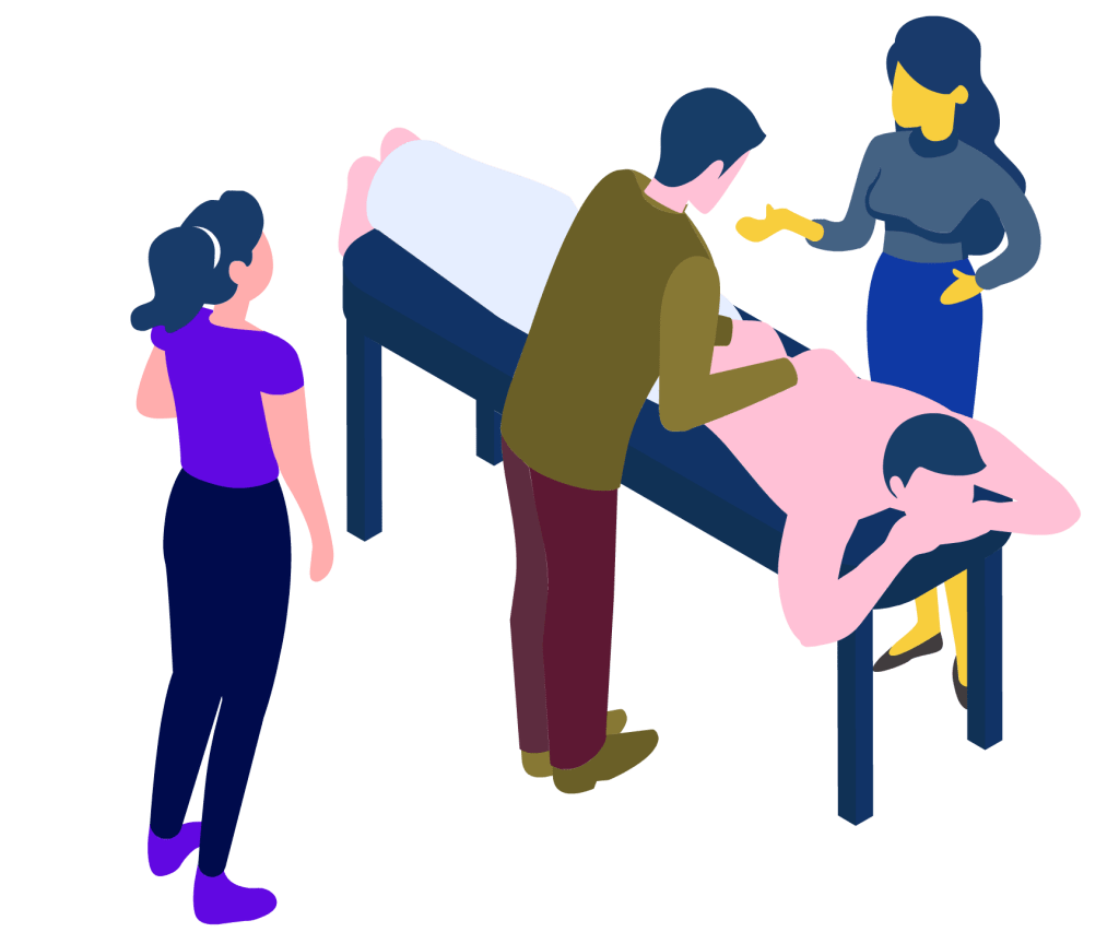 Registered Massage Therapists in a classroom