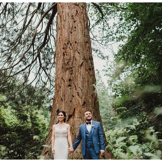 Woodland wedding married couple portraits