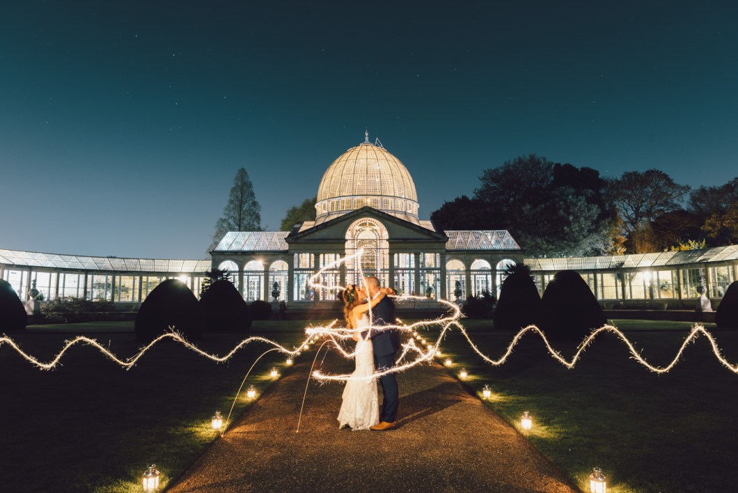 syon park wedding sparkler portrait