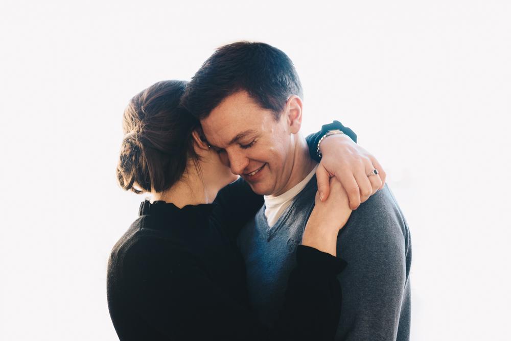 couple hug together