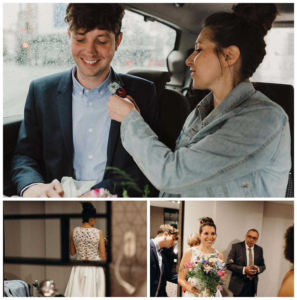 Bride and groom travel together to their wedding
