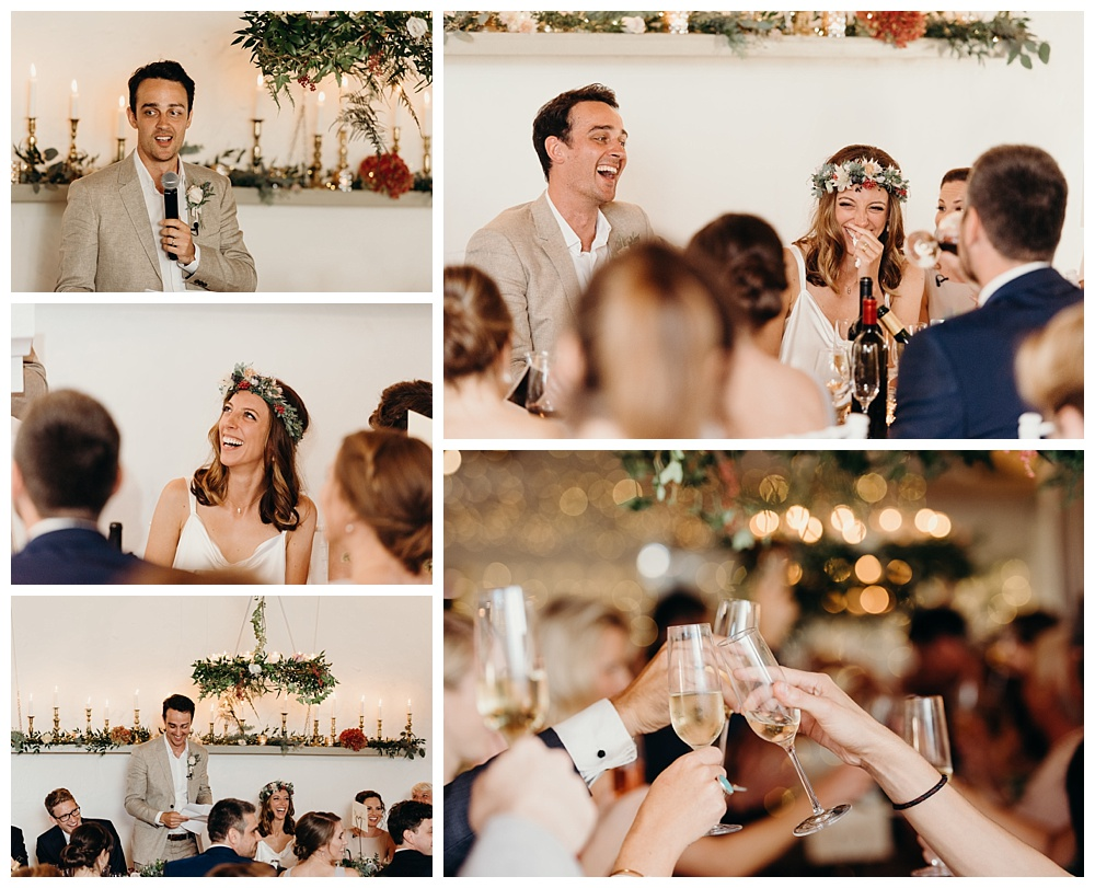 Speeches during wedding breakfast in Bordeaux