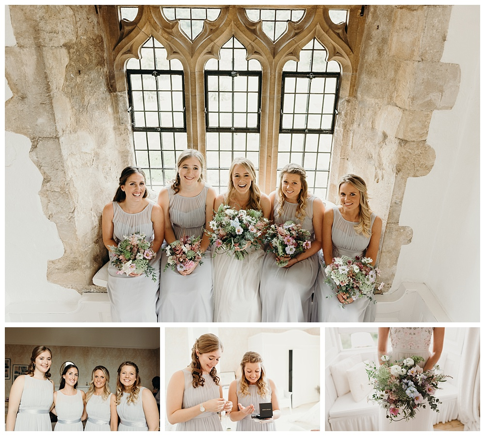 Bride and her bridesmaids at Butley Priory.