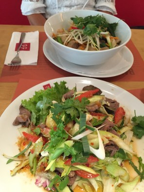 Duck on Thai noodles & Thai Beef Salad
