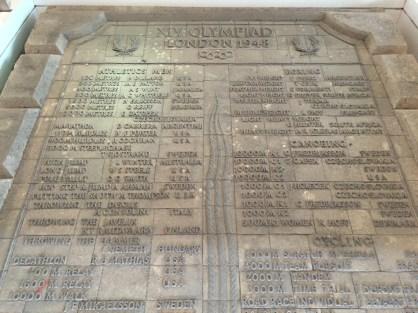 Erinnerungstafeln für die Olympischen Spiele 1948...