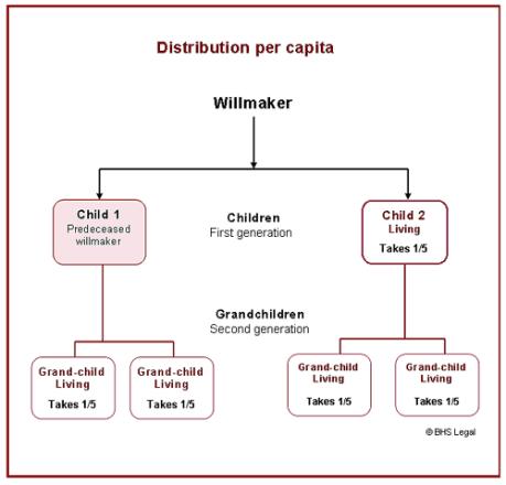 Per capita distribution, meaning of per capita, wills, children, legal meaning, next-of-kin, inheritance, per capita and per stirpes