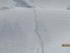 Climbers tracks up the glacier