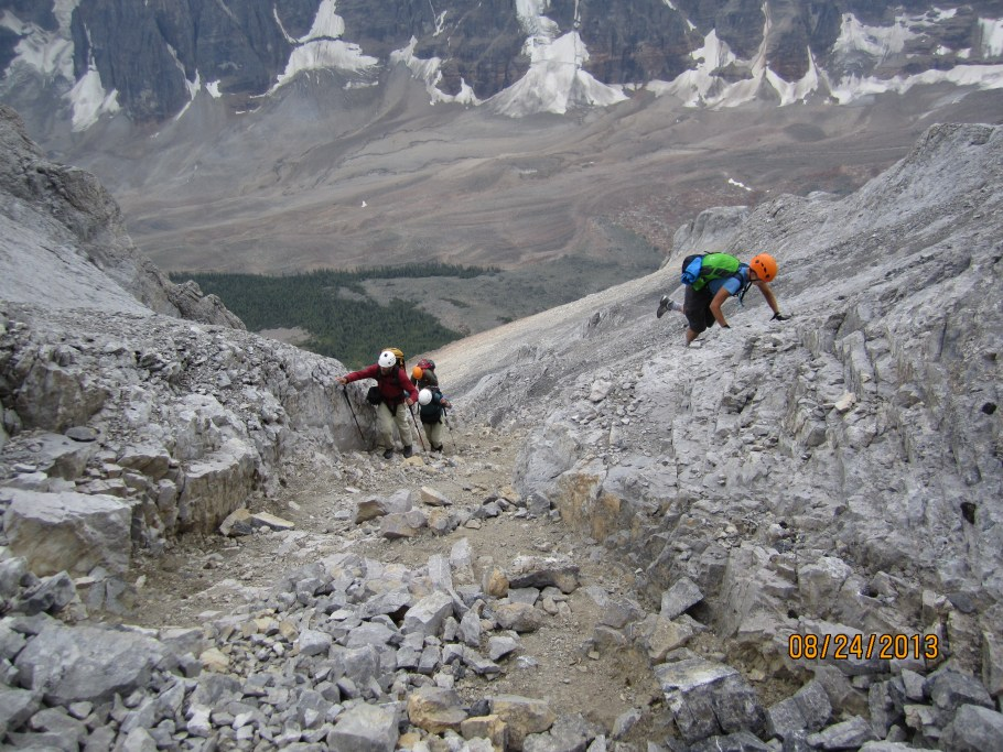 Scrambling up one of the two gullies