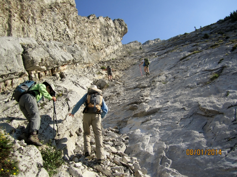 This is what you are faced with after the climb down.The Spine slabs on the left above the cliff band