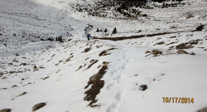 Plodding up the to Buller North Col