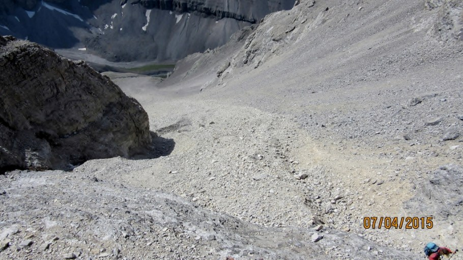 Looking down the scree from the top of the cone Mt Lougheed