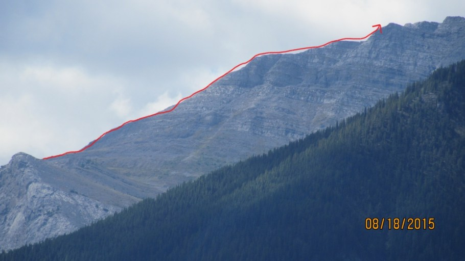 View from Canmore. Arrow shows Ridge