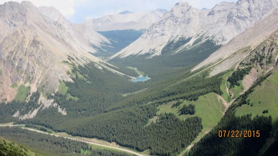 Elbow Lake in the Elbow Pass. Elpoca Mt left