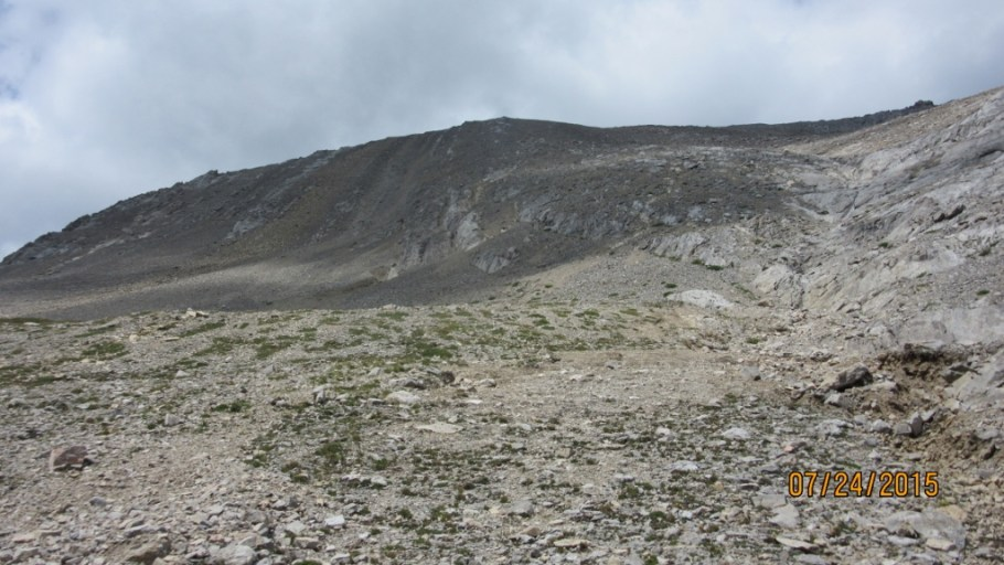 A view of the area to climb the false summit