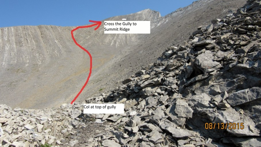 At the Col. Arrows shows approx route