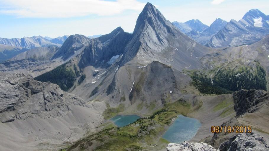 Mt Birwood with the two Birdwood Lakes