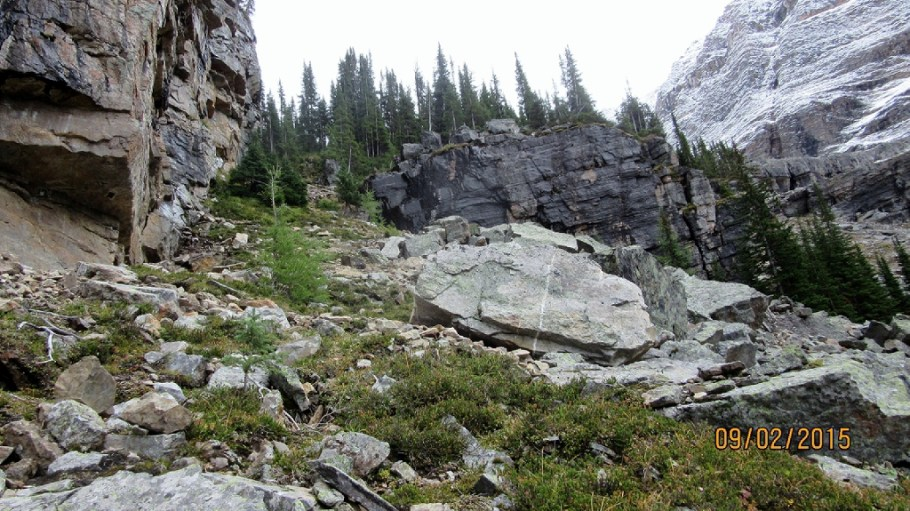The route down from Lake Opabin from Opabin Plateau