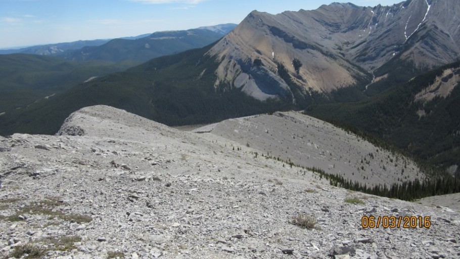 Looking down the ridge from Peak #4 .The route down