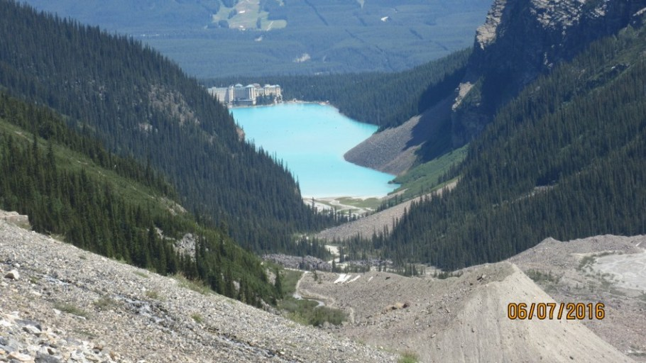 From the end of the morraine looking to Lake Louise