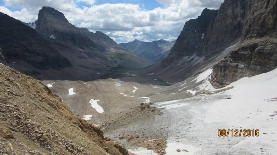 Opabin Glacier looking down Prospectors Valley Mt Nutuak lft 3237m