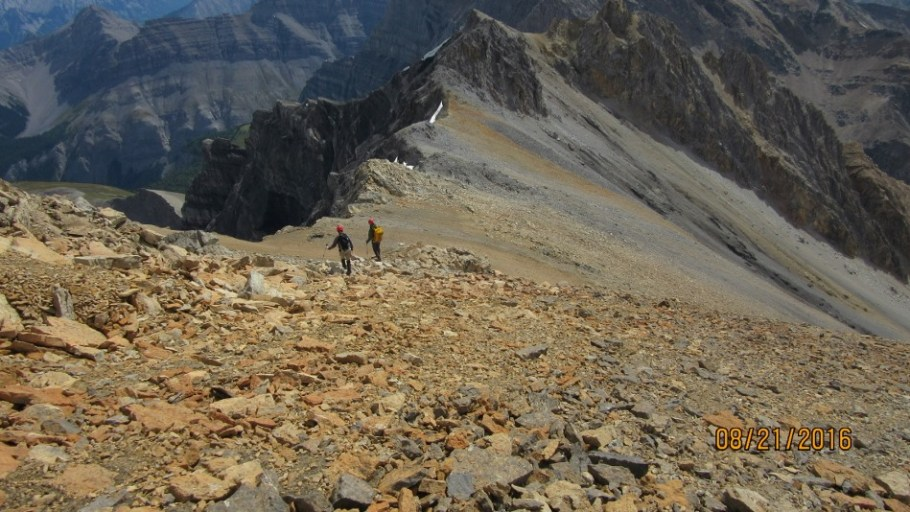 Starting off from the summit down the scree run
