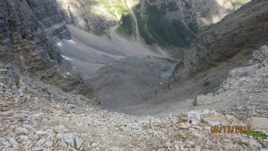 Looking down from the top of Goat Pass. Very steep and loose.