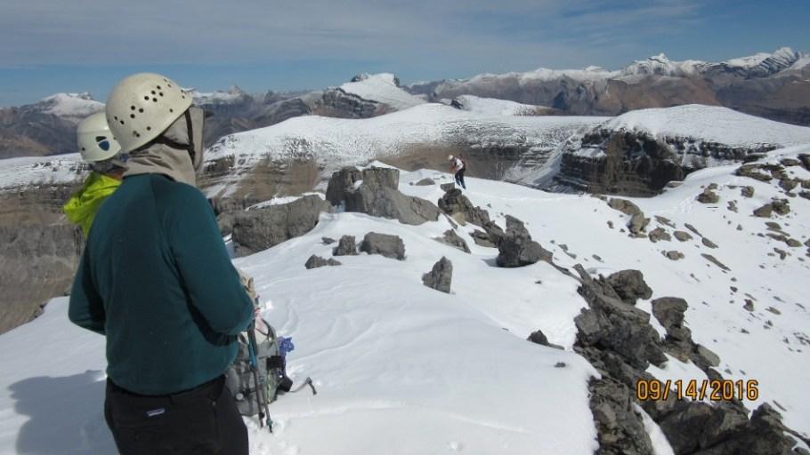 Looking back down the summit ridge