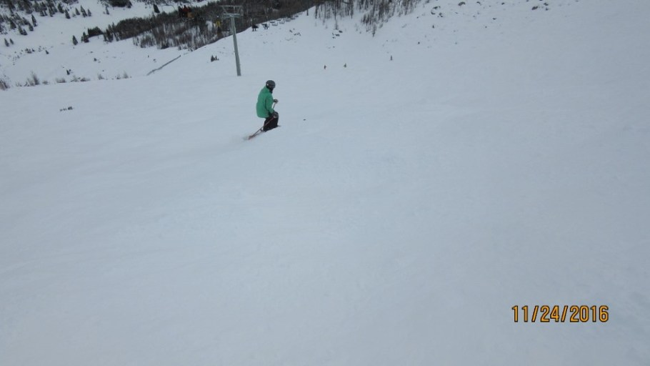 Going down Paradise Bowl. Poor light and poor snow