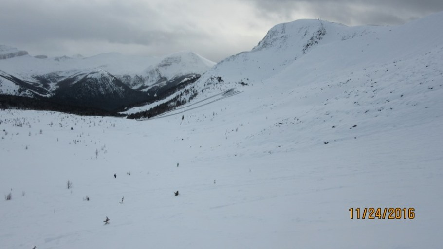 Looking down from Shoulder Roll to Saddleback at the snow fencing